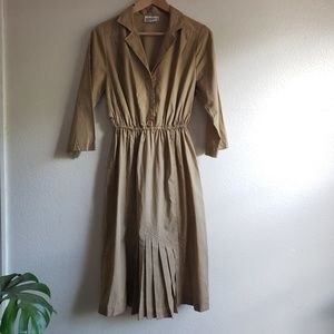 Vintage Modest Camel Midi Dress